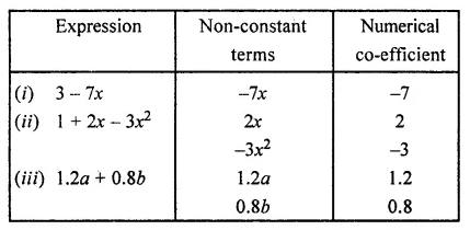 ML Aggarwal Class 7 Solutions for ICSE Maths Chapter 8 Algebraic Expressions Ex 8.1 Q10