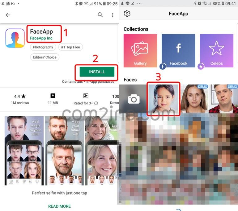 หน้าแสดงการติดตั้ง แอพหน้าแก่ ที่กำลังฮิต FaceApp