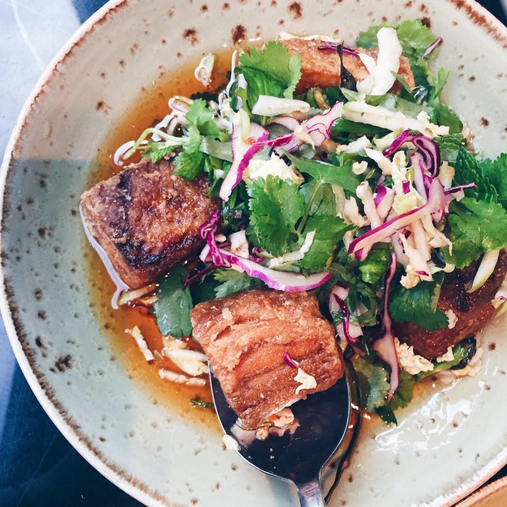 25 June 2016: Pork belly, apple slaw, chilli caramel, black vinegar @ Red Spice QV   Melbourne, Victoria