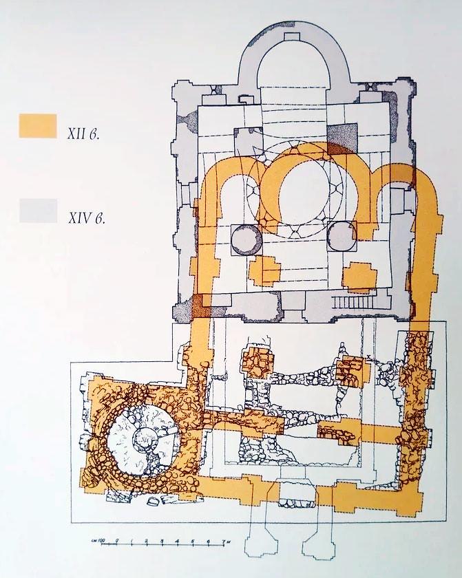 Церковь Благовещения. Совмещенный план храмов XII и XIV веков