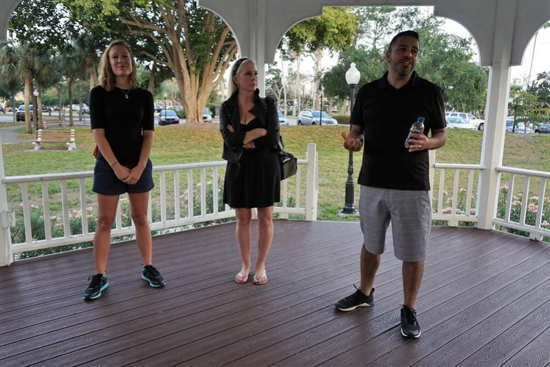 Tiffany Fernandez, Tracey Rieker, and Ronnie Fernandez Before the Venice Ghost Walk with Venice Florida Tours, April 2019