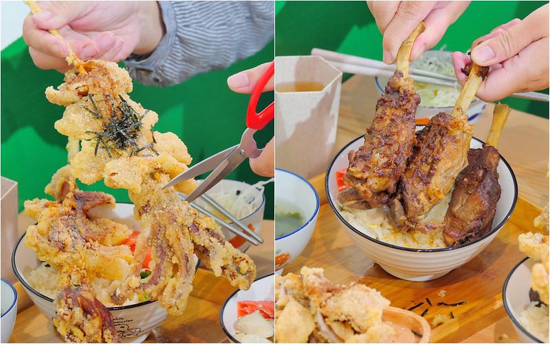 台中永興街_安羽軒食堂:大份量黃金炸魷魚丼飯 超大支炸魷魚超飽撐!還有白飯 味噌湯 高麗菜+刨冰免費無限吃到飽!