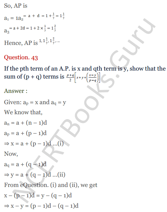 KC Sinha Maths Solution Class 10 Chapter 8 - Arithmetic Progressions (AP) - 172