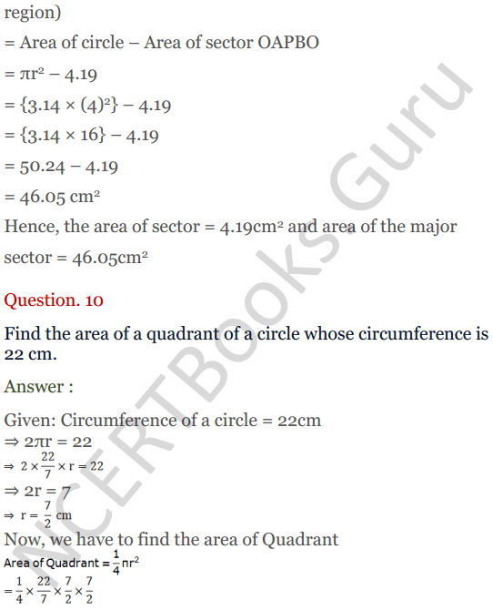 KC Sinha Maths Solutions Class 10 Chapter 13.Areas Related to circles - Ex 13 - 10