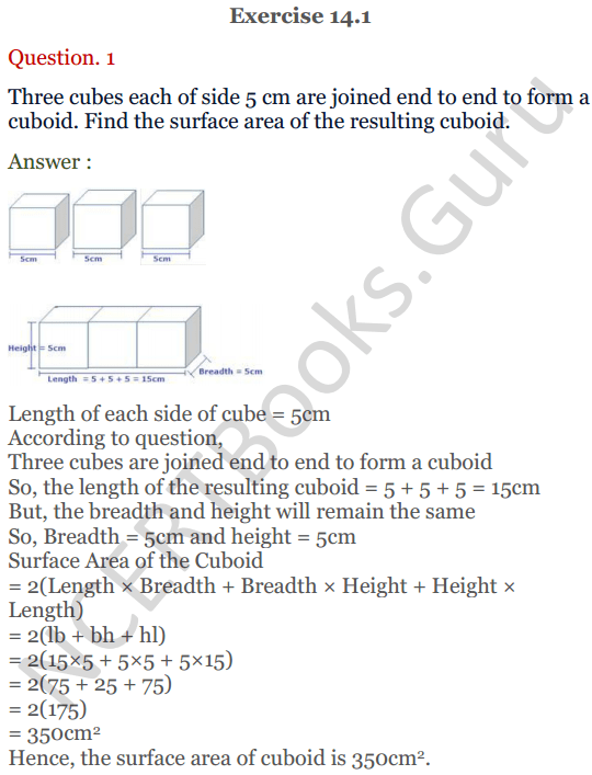 KC Sinha Maths Solutions Class 10 Chapter 14. Surface Areas and volumes - Ex 14.1 - 1
