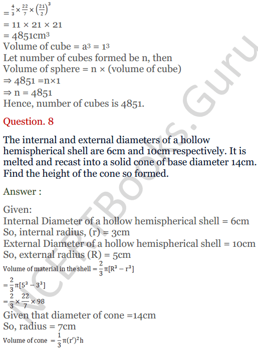 KC Sinha Maths Solutions Class 10 Chapter 14. Surface Areas and volumes - Ex 14.3 - 7