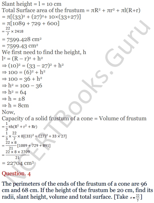 KC Sinha Maths Solutions Class 10 Chapter 14. Surface Areas and volumes - Ex 14.4 - 5