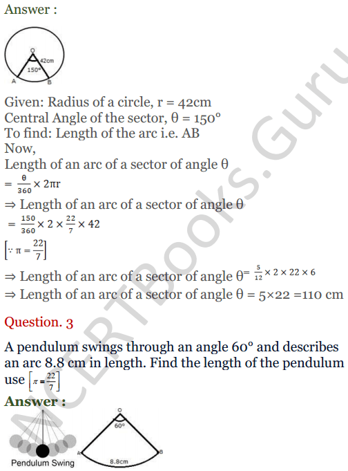 KC Sinha Maths Solutions Class 10 Chapter 13.Areas Related to circles - Ex 13 - 2