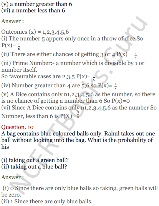 KC Sinha Maths Solutions Class 10 Chapter 15. Probability Ex.15 - 8