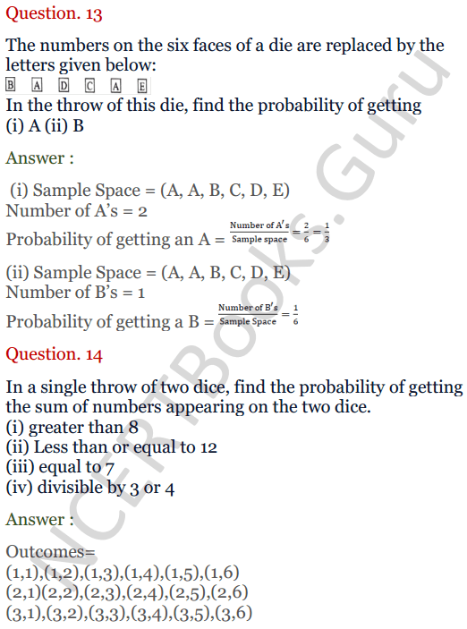 KC Sinha Maths Solutions Class 10 Chapter 15. Probability Ex.15 - 10
