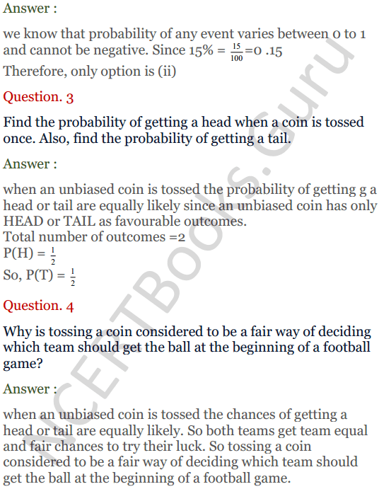 KC Sinha Maths Solutions Class 10 Chapter 15. Probability Ex.15 - 4