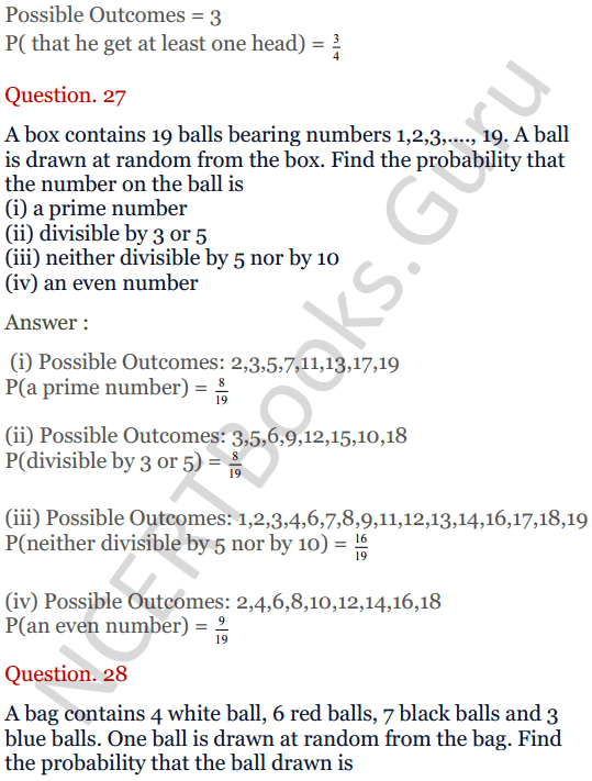 KC Sinha Maths Solutions Class 10 Chapter 15. Probability Ex.15 - 20