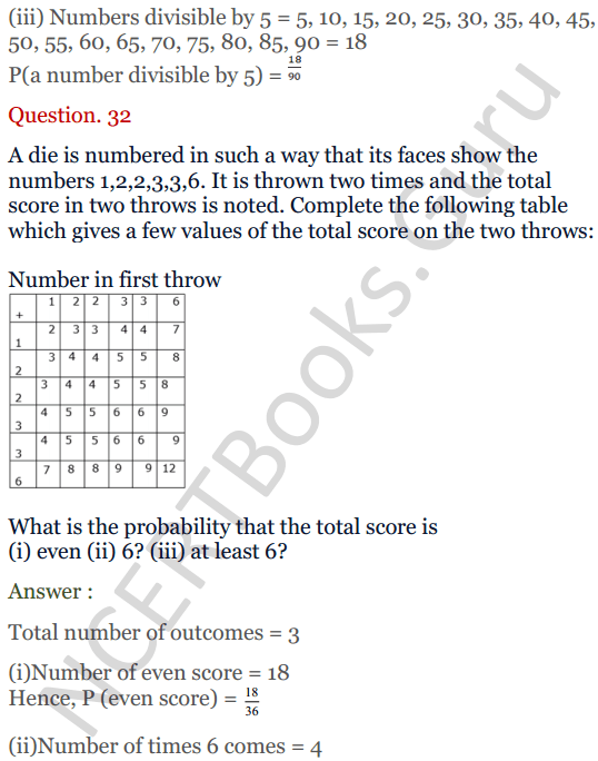 KC Sinha Maths Solutions Class 10 Chapter 15. Probability Ex.15 - 24