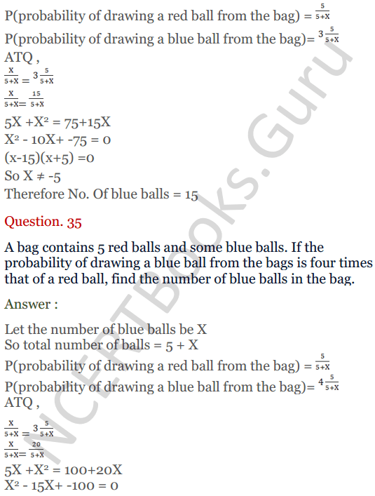 KC Sinha Maths Solutions Class 10 Chapter 15. Probability Ex.15 - 26