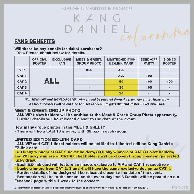 Kang Daniel 'Color On Me' Fan Meeting in Singapore Fan Benefits update