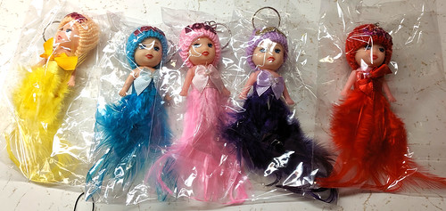 Confused Keychain Dolls - feather body