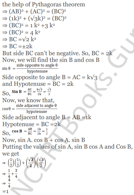 KC Sinha Maths Solutions Class 10 Chapter 4 Trigonometric Ratios and Identities Ex 4.1 - 94