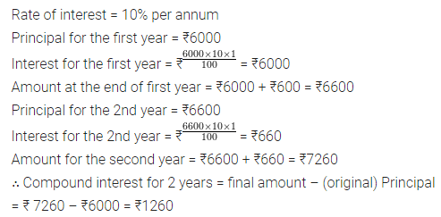 ML Aggarwal Class 8 Solutions for ICSE Maths Chapter 8 Simple and Compound Interest Ex 8.2 Q1