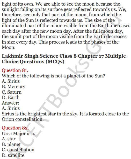 Lakhmir Singh Science Class 8 Solutions Chapter 17 Stars and the Solar System - 34