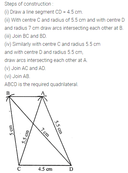 ML Aggarwal Class 8 Solutions for ICSE Maths Chapter 14 Constructions of Quadrilaterals Ex 14.1 Q4