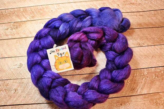 Tiger Club July 2019 - Deepening Twilight Polwarth Wool and Silk Combed Top Spinning Fiber