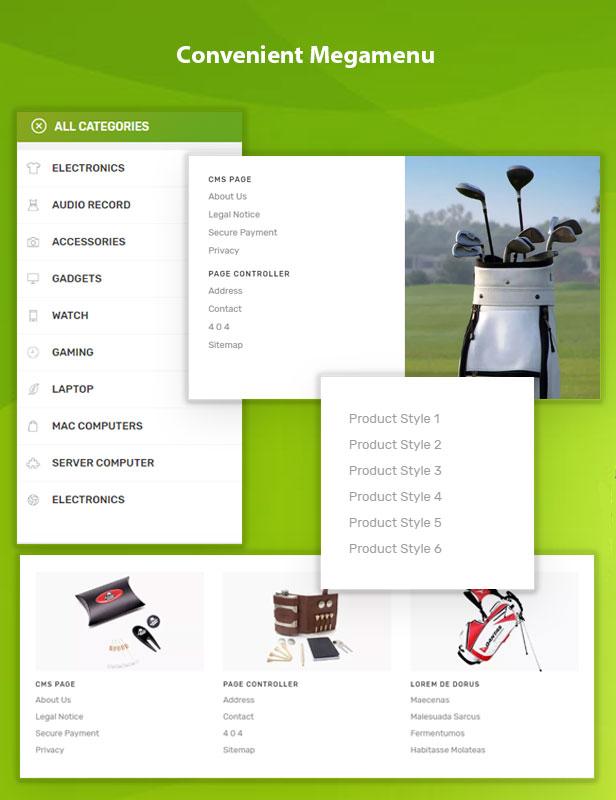 Vega Store e-commerce Prestashop theme - megamenu