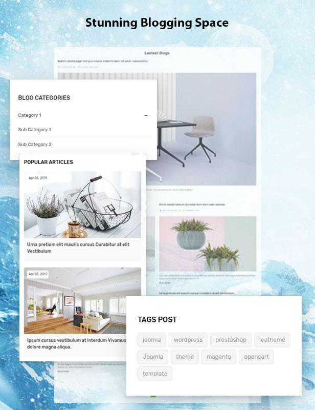 Vega Store e-commerce Prestashop theme - beautiful blog templates