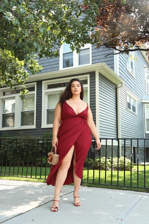 nadia burgundy wrap dress