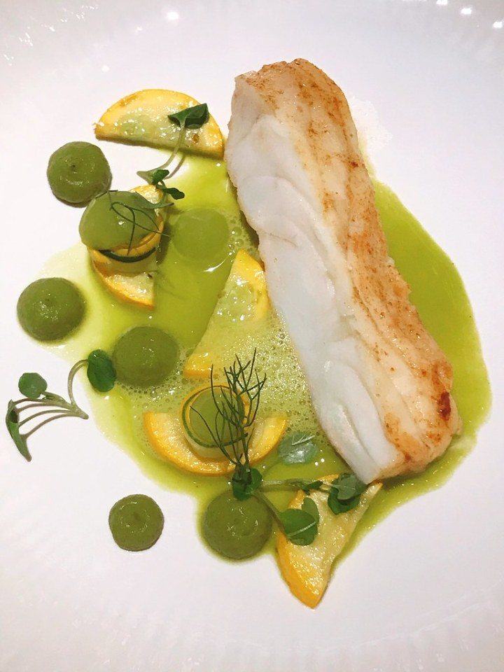 Wild Turbot: Meunière with zucchini textures, Granny Smith apple broth, marigold and tarragon