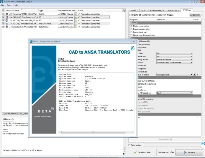 Working with BETA-CAE Systems v19.1.3 - CAD TO NASA Translators