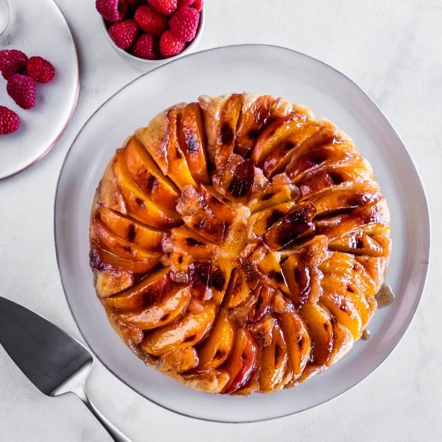 warm, perfectly caramelized upside-down cake