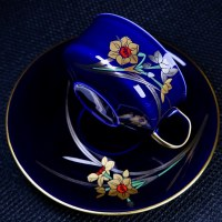香蘭社 琉璃金彩「水仙」咖啡杯盤組|日本有田燒收藏