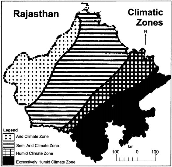 RBSE Solutions for Class 11 Indian Geography Chapter 13 Rajasthan Climate, Vegetation and Soil 1