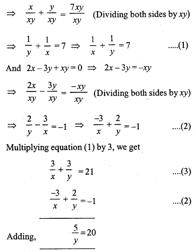 ML Aggarwal Class 9 Solutions for ICSE Maths Chapter 5 Simultaneous Linear Equations Chapter Test 6