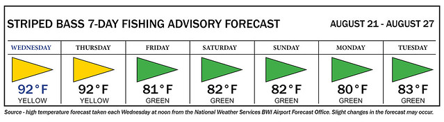 Image of advisory showing yellow fishing days Wednesday and Thursday, green from Friday through Tuesday