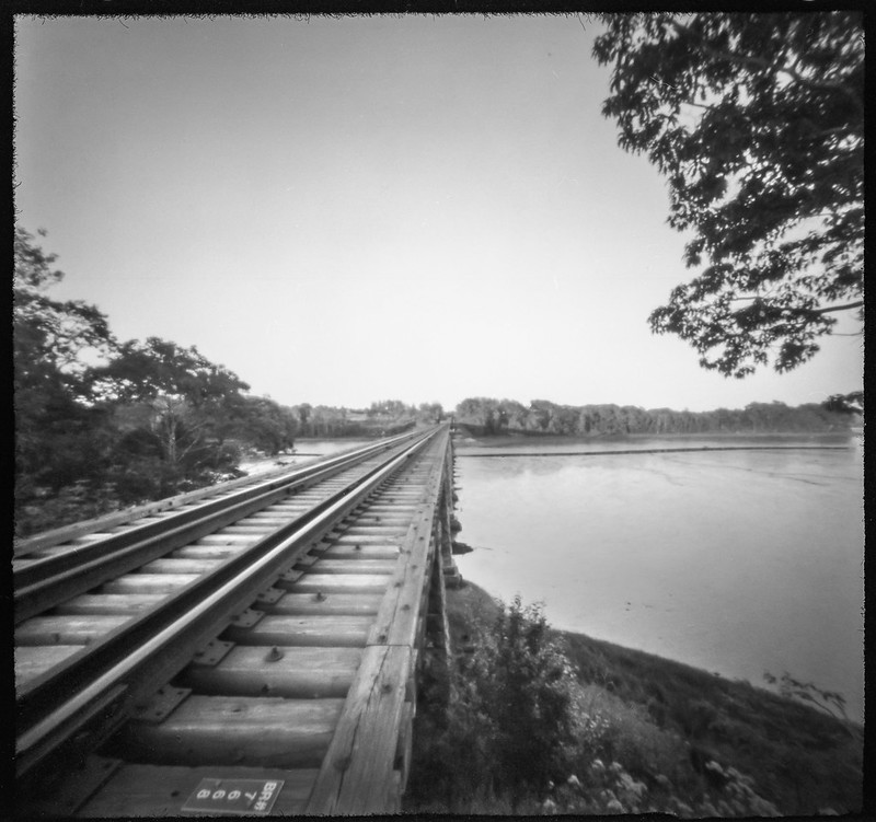 railroad bridge, train tracks, Saint George River, Thomaston, Maine, 6x6 pinhole camera, Arista.Edu 200, HC-110 developer, July 2019
