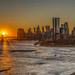 Sun sets on lower Manhattan