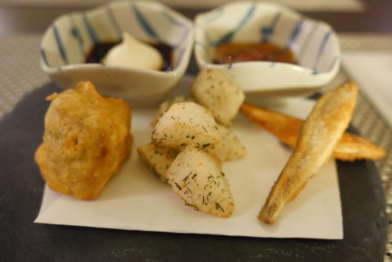 一口からし蓮根,ワカサギと長芋のフィッシュアンドチップス