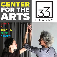 Graphic image for the Northampton Center for the Arts at 33 Hawley. Intergenerational photo of two people  engaging in movement art.