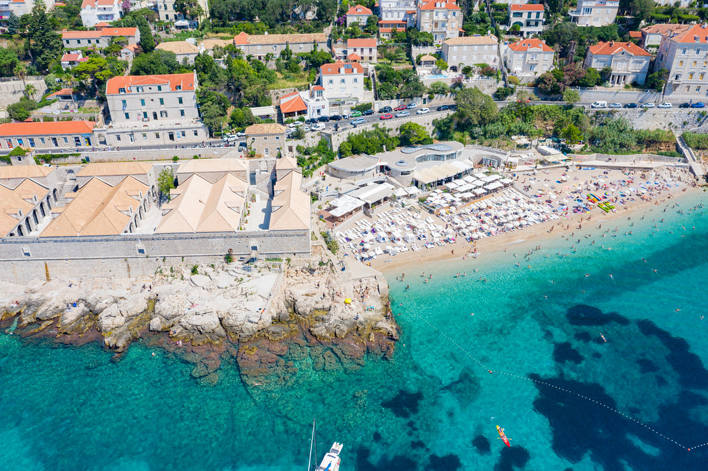 Aerial view of Banje Beach and Lazzarettos of Dubrovnik in Croatia