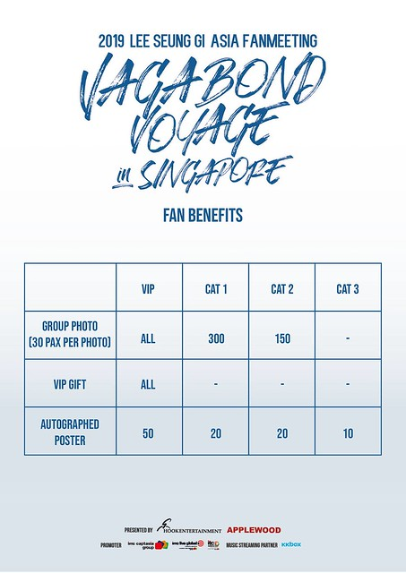 Lee Seung Gi 'Vagabond Voyage' Asia Fanmeeting in Singapore Fan Benefits