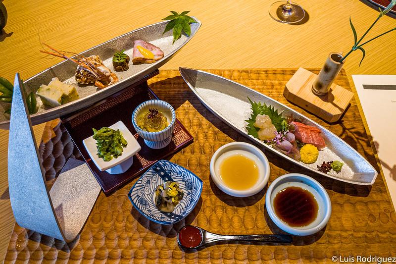 Amuse-gueules du menu du dîner du restaurant Hanabi