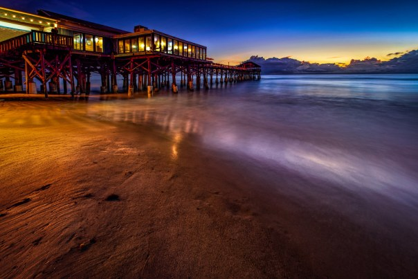 Cocoa Beach Pier before dawn