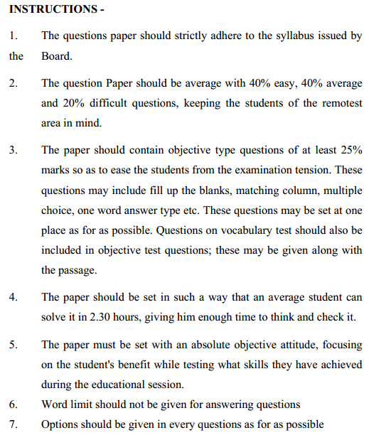 MP Board Class 11 English Format of Question Paper 2