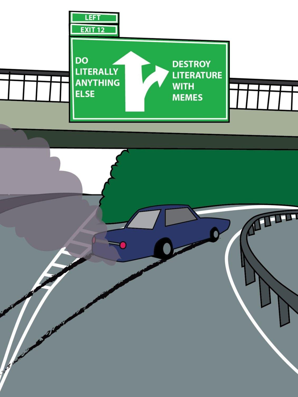 memes destorying literature illustration