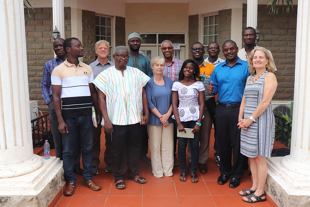 Mark Powell (back row, second from left), Nancy McCarthy (front row, center) and Christine Negra (front row, right) together with some Africa RISING project partners in Northern Ghana. Photo credit: Wilhelmina Ofori-Duah/IITA.
