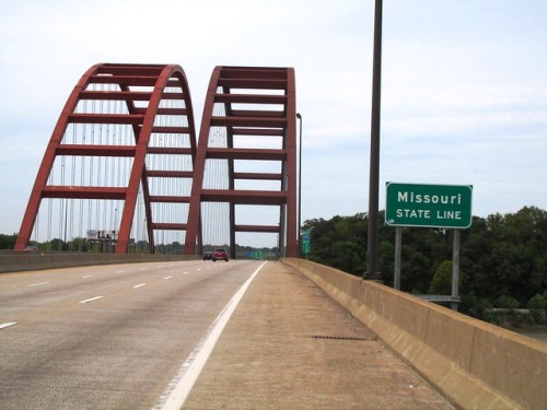 Crossing the Mississippi River Into Missouri