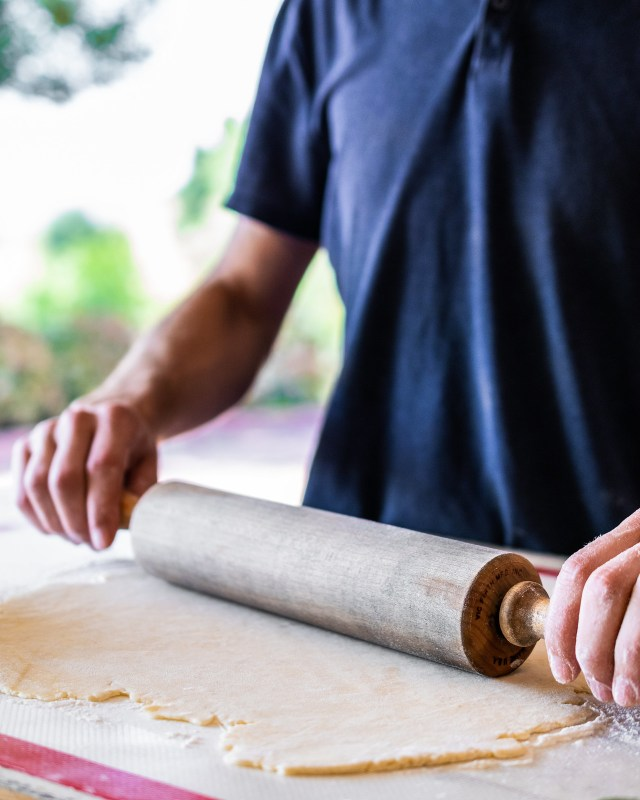 when rolled out, the dough should be 1/4 inch thick