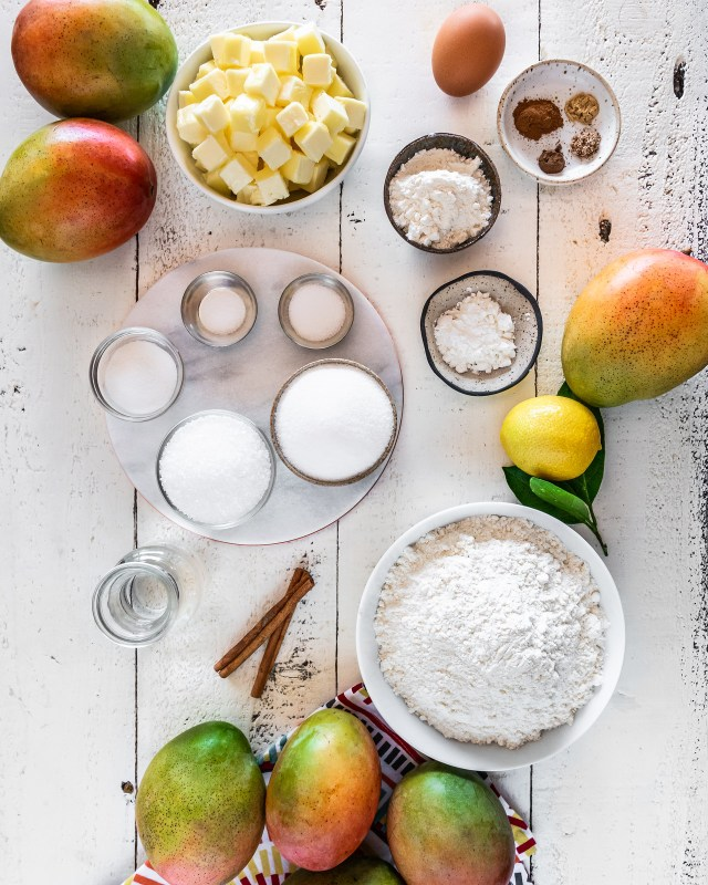 it takes just a few ingredients to make mango pie