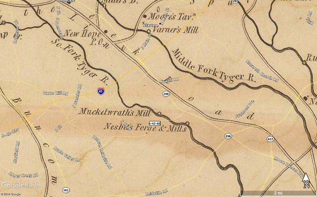 Berry Shoals Pond Area 1825 Mills